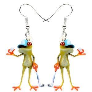 Golf Frog Acrylic Earrings